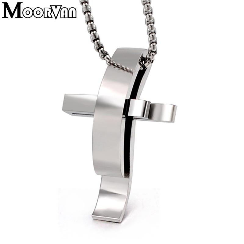 Moorvan rock cross necklaces polishing stainless steel trendy charm necklace  woman b0f8d7bf369b
