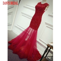 Red Lace Mermaid Evening Dresses Long Party Beaded Women Unique Formal Evening Gowns Dresses on Sale robe de soiree