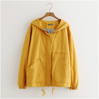 Harajuku Autumn Black Jacket Women Overcoat Korean Big size Hooded Short Coat Women Yellow Jacket Long sleeve outerwear Female