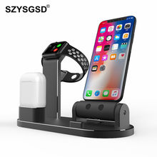 3 In 1 Aluminium Cell Phone Watch Stand Charging Dock Holder for Apple Watch AirPods For Iphone X 8 7 6 6S Charger Support Stand(China)