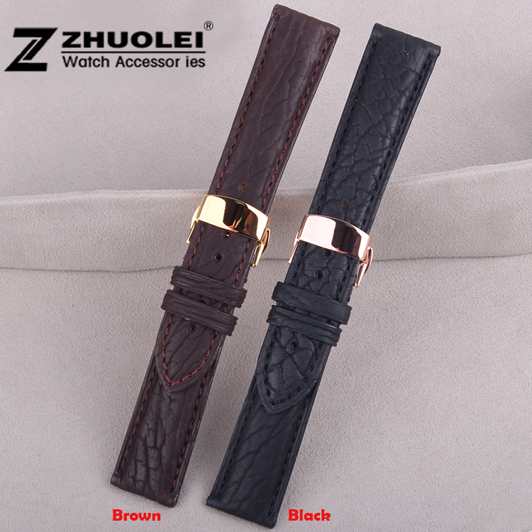 Watch band 18mm 20mm 22mm Gold Butterfly Buckle Genuine Sealskin Leather Deployant Watch Bracelet Strap Watchband watch band strap butterfly pattern genuine leather deployant buckle bracelet brown black watchbands 18 24mm