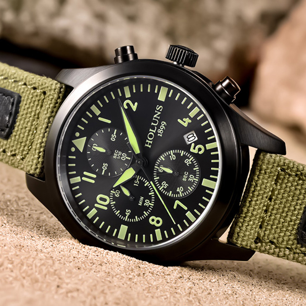 Holuns 2019 Men Pilot Watch Military Sport Army Quartz Relogio Masculino Male Watches Canvas Clock Luxury