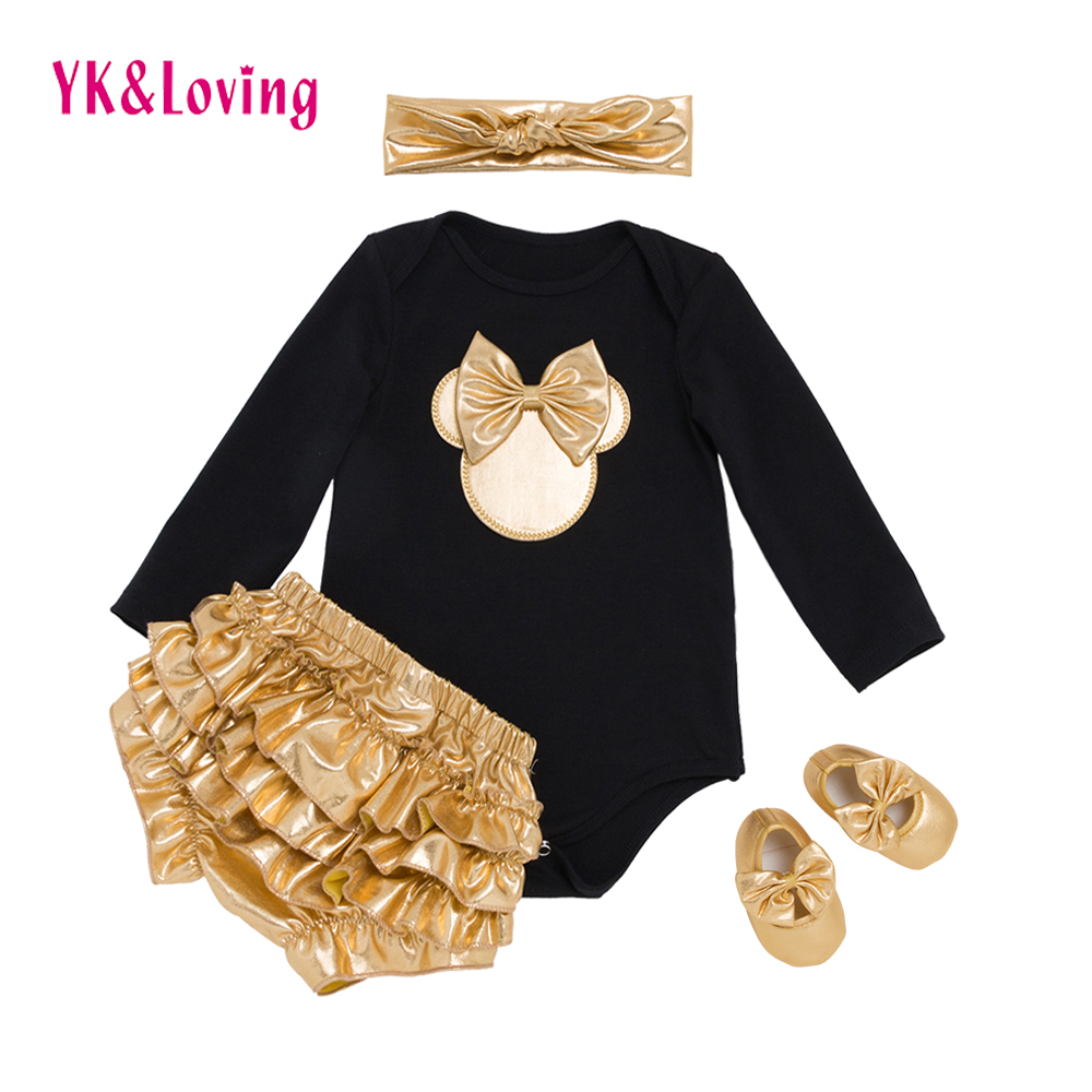 YK&Loving Black Girls Clothes Sets with Golden Bloomer+Golden Shoes+Hairband 4pcs for 0-2years Girls 2017 New Clothes F3011