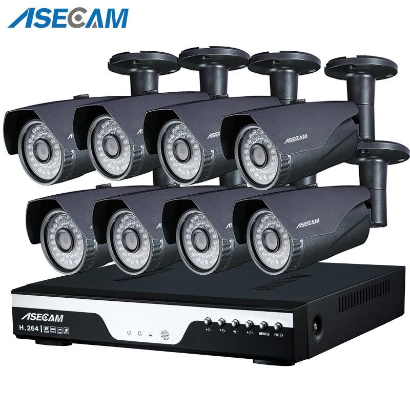 Super 4MP Full HD 8ch Telecamera di Sorveglianza kit Grigio Metallo Pallottola Esterna di Sicurezza Della Macchina Fotografica h.264 DVR P2P Email alert Spina e giocare