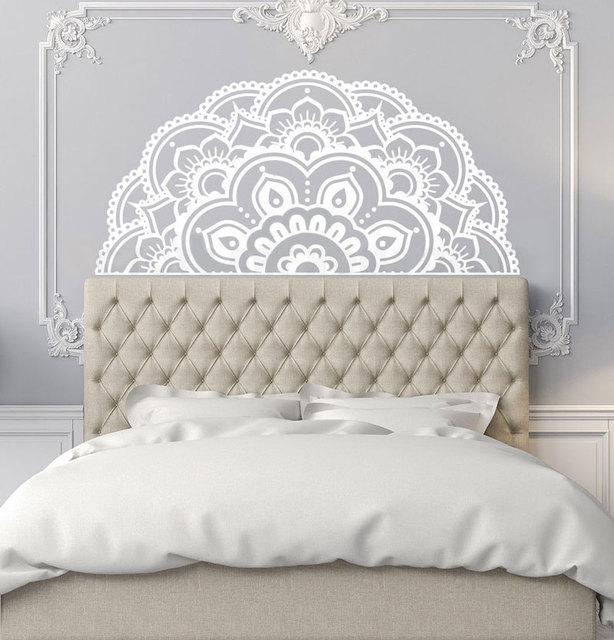 חצי המנדלה ויניל קיר מדבקת בוהמי סגנון קיר קיר בית שינה דקור נשלף מנדלה פרח עיצוב קיר מדבקת MTL13