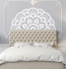 Autocollant Mural en vinyle avec demi Mandala, Style bohémien, décoration pour chambre à coucher, Style fleur, amovible, MTL13