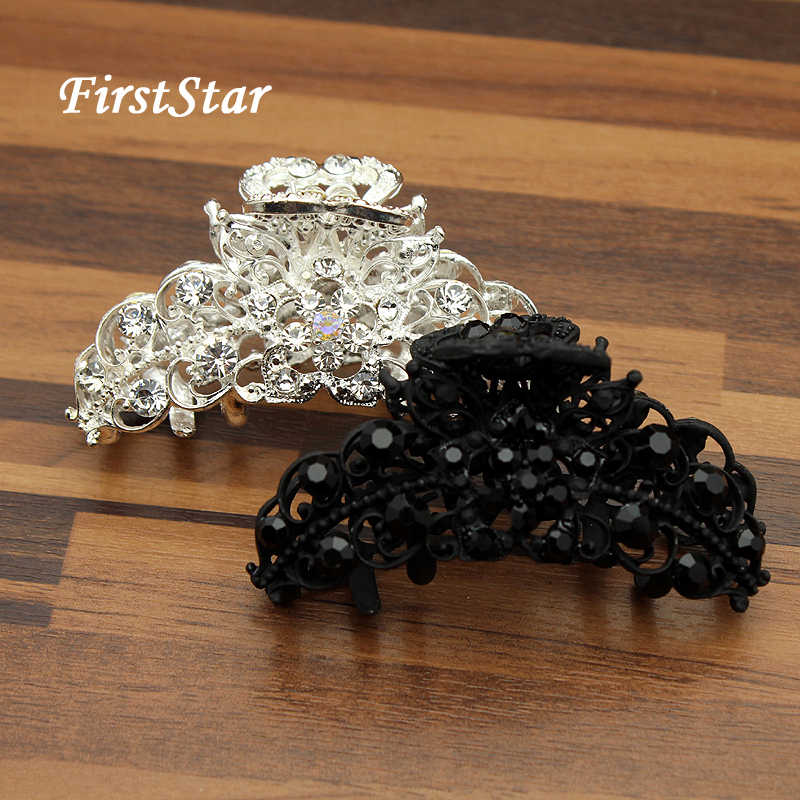 FirstStar Vintage Luxury Big Crystal Hair Jaw Clip Clamp Flower Metal Rhinestone Hair Claws For Women Accessories Jewelry
