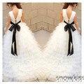 Branco/marfim longo lace oco voltar vestidos da menina de flor para o casamento lindo em camadas vestido de dama de honra júnior vestidos de baile com longa trem