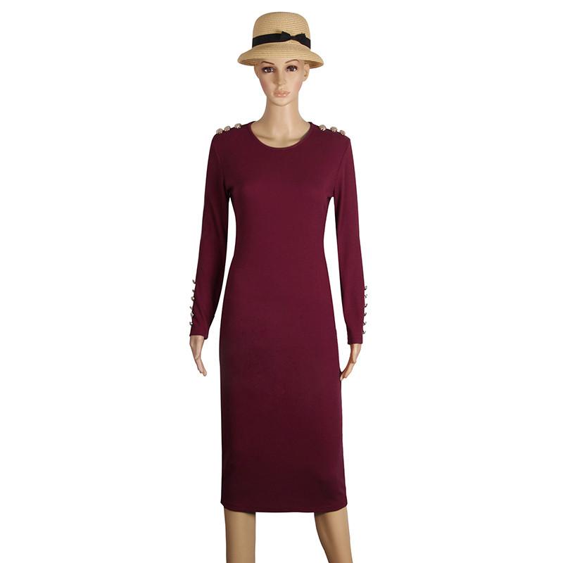 2017 fashion party dress kobiety sexy płaszcza bodycon midi dress stałe z długim rękawem z dzianiny pakiet hip dress vestidos s-xl lj7338e 4