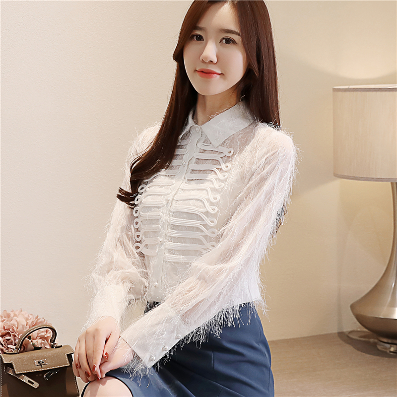 Turn down collar Lace   Blouse   Women's   Blouses     Shirt   2019 new fashion spring white Chiffon Long Sleeve   Shirts   Ladies 2019 917B
