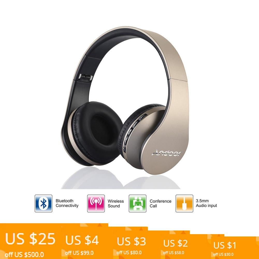 Ship from RU/US Best Selling Andoer Wireless Headphones Stereo Bluetooth 4.1 EDR Headset Card MP3 player Earphone FM Radio 1