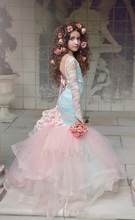 Gorgeous Blue And Pink Girls Pageant Gowns 2017 Lace Long Sleeves Backless Mermaid Flower Girl Dresses For Wedding Children Part cute mermaid girls pageant gowns lace applique sleeveless lace up flower girls dresses for wedding any size