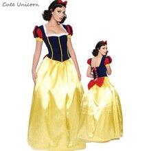 Adulto Branca de Neve Princesa Trajes de Halloween para as mulheres Carnaval festa Cosplay Livro de Histórias De Conto De Fadas Traje Feminino Vestido Longo