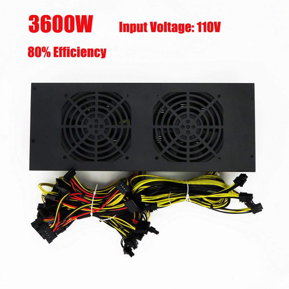 80% 3600W Mining Power Supply For Ethereum Bitcoin Miner 12GPU Antminer S9 200-260V Input