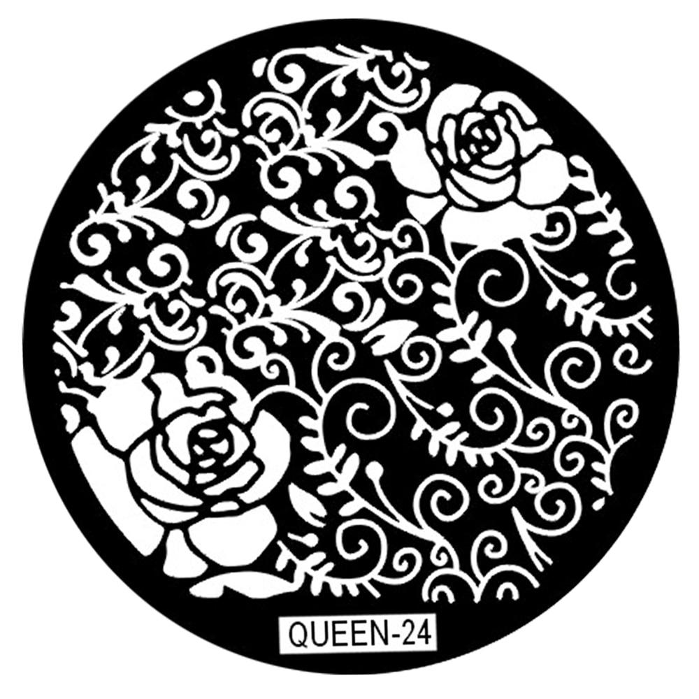 QUEEN24 Reben Und Blumen Nail art Stamping Platten Vorlage DIY Nagel ...