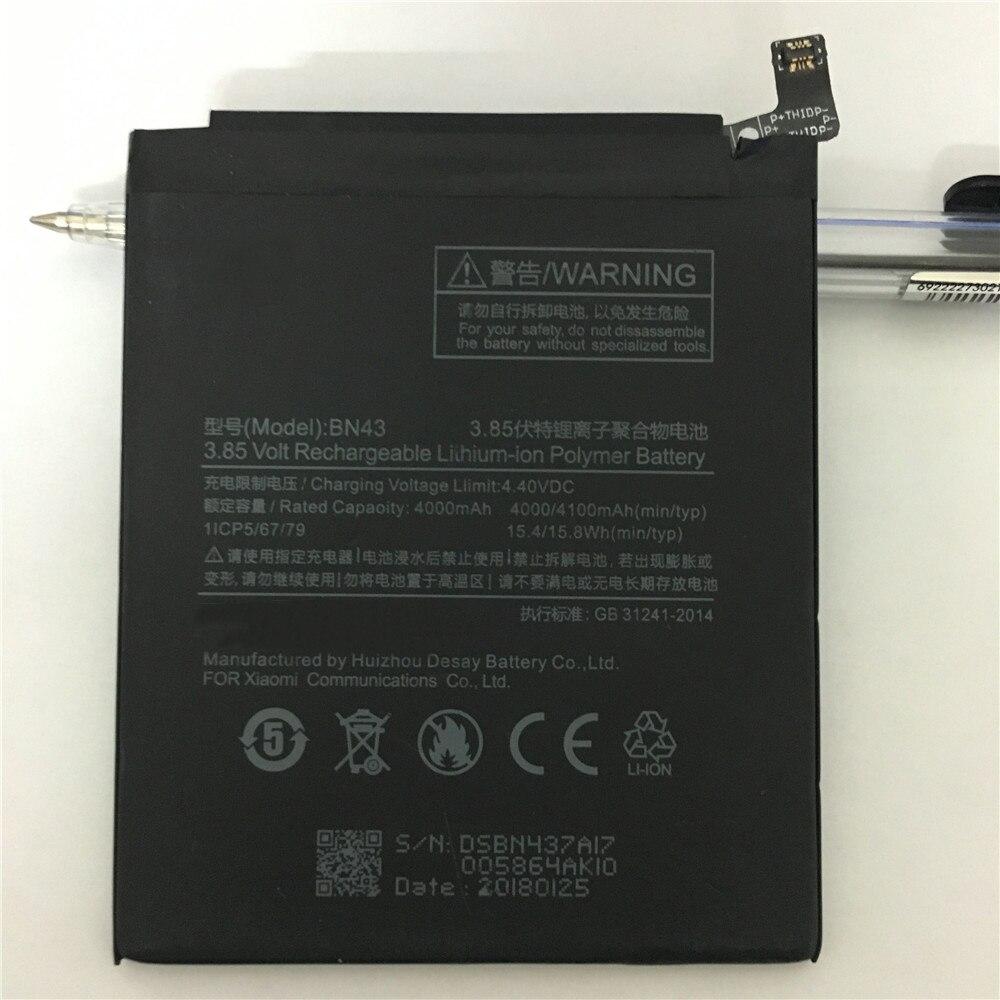 100% Original Backup neue BN43 Batterie 4000 mah für Xiaomi Redmi Hinweis 4X Batterie auf lager Mit tracking-nummer