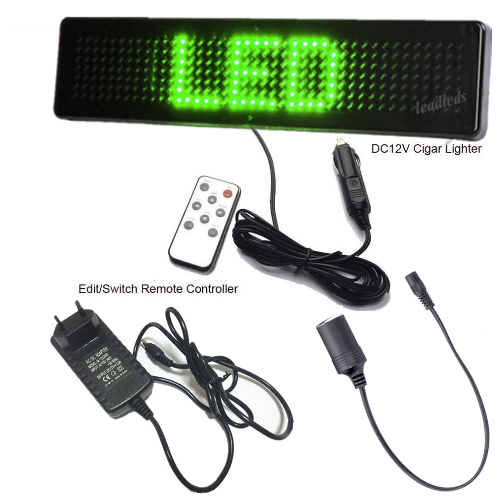 Multi-function Shops Car Green Promotional Advertising Scrolling LED Sign Programmable DIY Remote Control LED Display Board