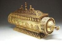 Delicate Tibet elongated aureate brass incense burner box