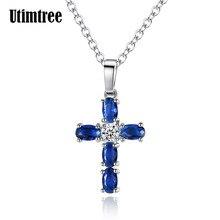 7632db170db1 Utimtree moda plata Color azul cristal colgante collar Cruz CZ collar de  joyería para mujeres collar llamativo envío de la gota