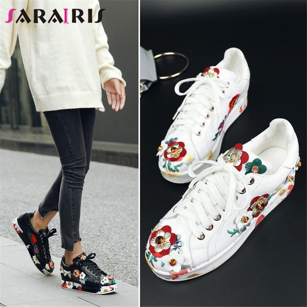 SARAIRIS 2019 printemps marque grande taille 33-39 en cuir véritable femmes baskets dames fleurs appartements décontracté plate-forme chaussures femme