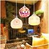 Shell Colorful Mosaic Glass Pendant Light For Cafe Restaurant E27 Bulb 90 260V Bohemia Baroque Mediterranean