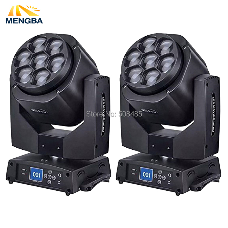 2pcs/ lot New Led Mini Bee Eye Moving Head Light 7x15W RGBW Professional Stage Lights Zoom DJ DMX Disco Beam Wash Effect стоимость