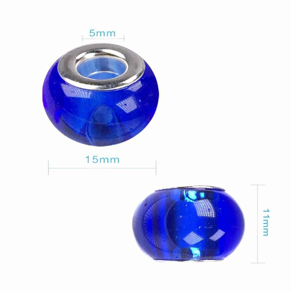 10 unids/lote 14,5x11mm Rondelle de colores mezclados, cuentas de cristal de gran agujero europeo con núcleo de latón plateado para Diy Charm Bracelet