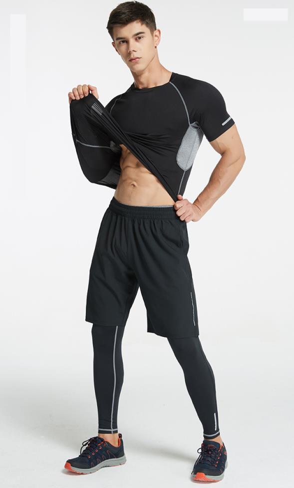 Homme Sport costume course ensemble Gym vêtements Sportswear Fitness costume couche de Base Fitness Jogging Yoga élastique Sport vêtements 3 pièces