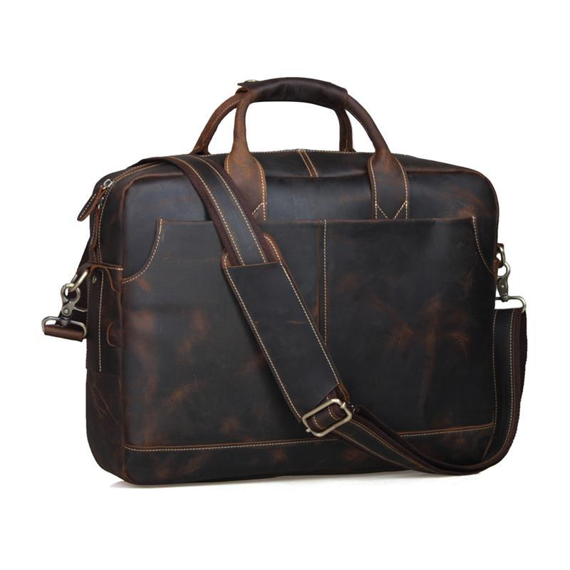 Men Leather Briefcase Retro Cowhide Business Handbag Fit For 15 Inch Laptop Bag Brown PR561019 jacodel business large crossbody 15 6 inch laptop briefcase for men handbag for notebook 15 laptop bag shoulder bag for student