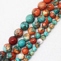 "Wholesale 4-12mm Orang&Blue Snow Jasper Round Loose Beads 15"" bjf2, For Jewelry making, can mixed wholesale!"