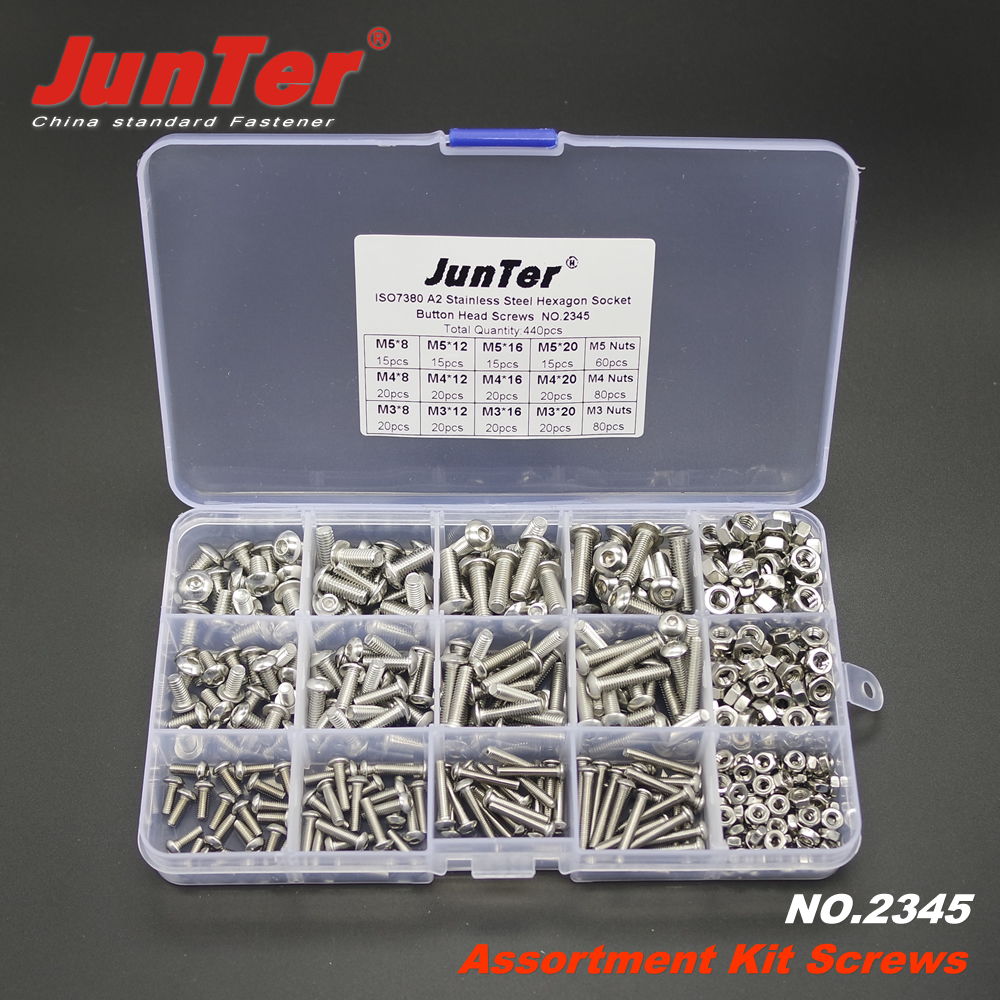440pcs M3 M4 M5 A2 Stainless Steel ISO7380 Button Head Allen Bolts Hexagon Socket Screws With Nuts Assortment Kit NO.2345