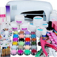 Super deal Shiny High Quality Professional 9W UV White Dryer lamp 24 color Acrylic Powder Nail Art Kit Gel Tools Nail Art Set