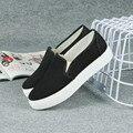 Высокое Качество Простой Стиль женщин Холст Обувь Slip On повседневная обувь Розничная Твердые Квартиры Женщины Мягкие ботинки Бесплатная Доставка HSE4