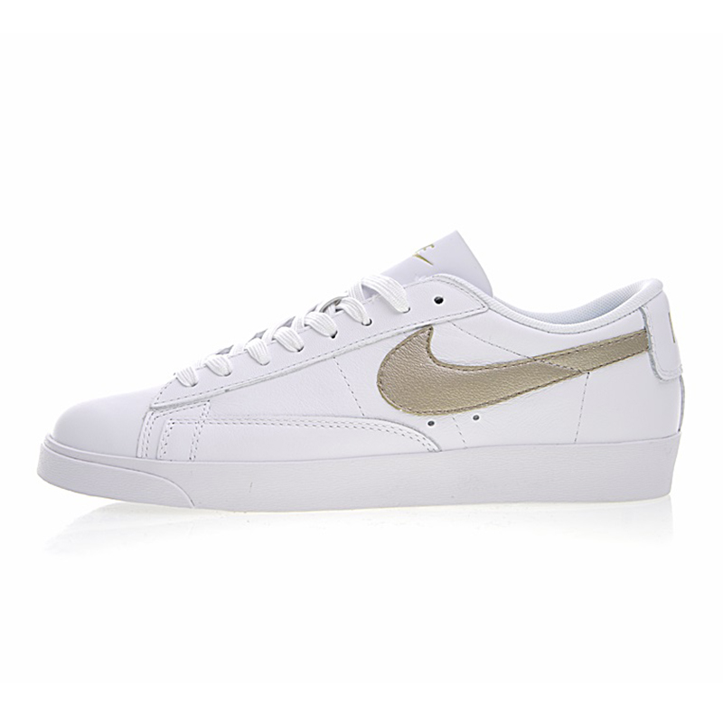 outlet store d3526 1f1e7 NIKE BLAZER LOW LE Women Skateboarding Shoes , Breathable Lightweight  Wear-resistant Damping, White  Gold AA3961 103