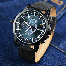 2016 Casual Men's Watch Leather Strap Hand Fashion Wristwatch Analog Quartz-watch Luxury Army Male Clock Hours Military