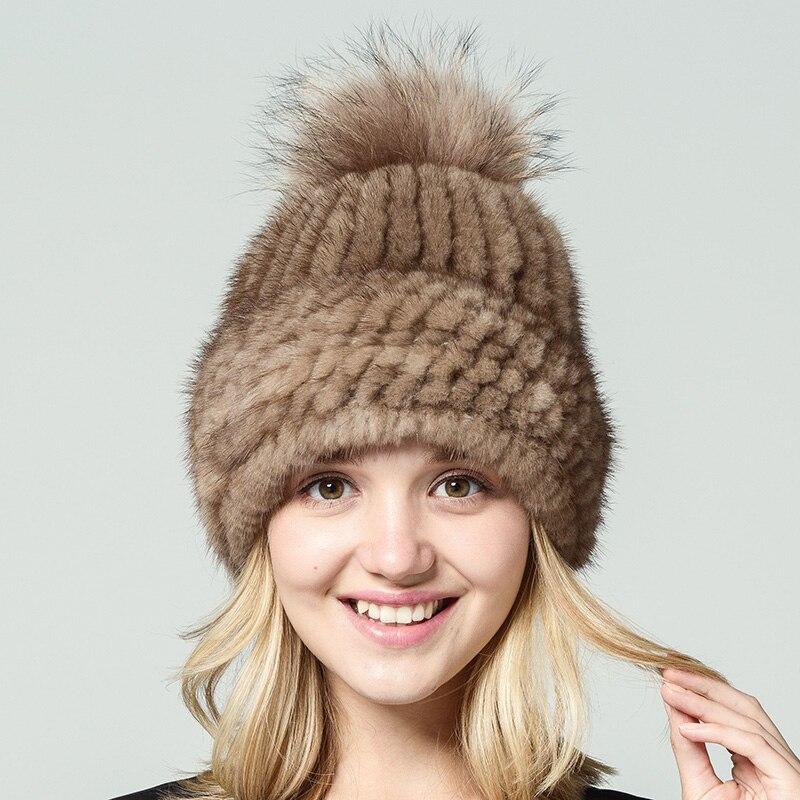 Véritable naturel vison fourrure bonnets hiver fourrure chapeaux pour femmes 2017 nouveau bonne qualité chapeau épais chaud chapeau de pompons russe fourrure casquette - 2
