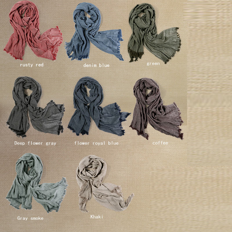 Image 3 - Fashion Classic Retro Scarf Cotton linen lady Men Autumn Multifunctional Soft warm long scarf Multicolor Tassel scarves 72*196cm-in Men's Scarves from Apparel Accessories