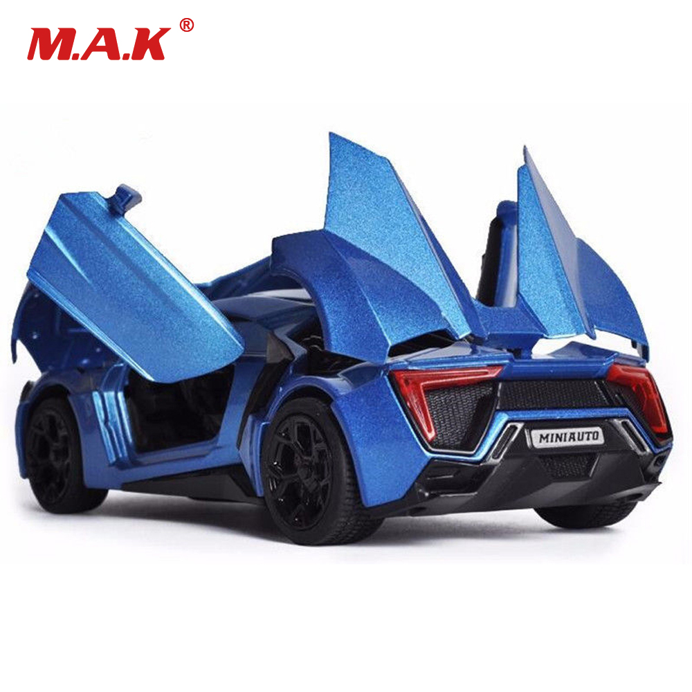 Collectible Model Car Toys 1/32 schaal Alloy Lykan Hypersport Fast and Furious Electronic Diecast Cars Toys voor jongens Kids
