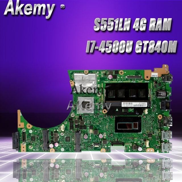 Akemy S551LN Laptop motherboard para ASUS S551LN S551LB S551L R553L S551 Teste mainboard original 4G RAM I7-4500U GT840M
