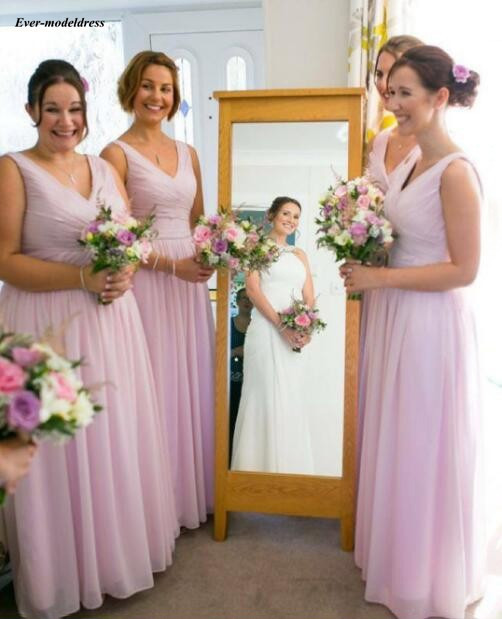 Charming Pink Beach   Bridesmaid     Dresses   2019 V Neck Pleats A Line Long Chiffon Maid of Honor Wedding Party Gowns Cheap Customized