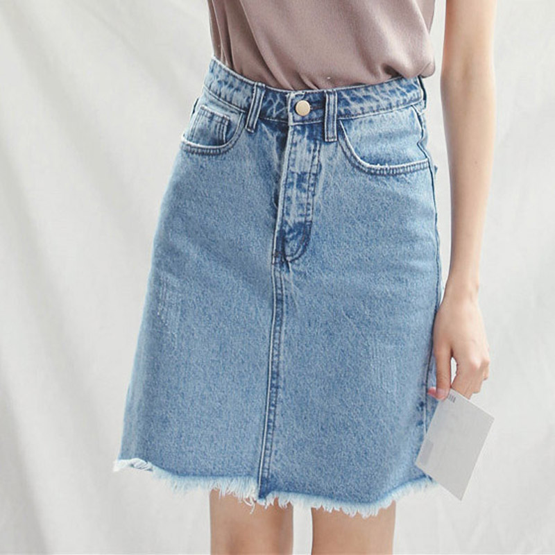 Women Denim Skirts Knee Length Plus Size Denim Skirts High ...