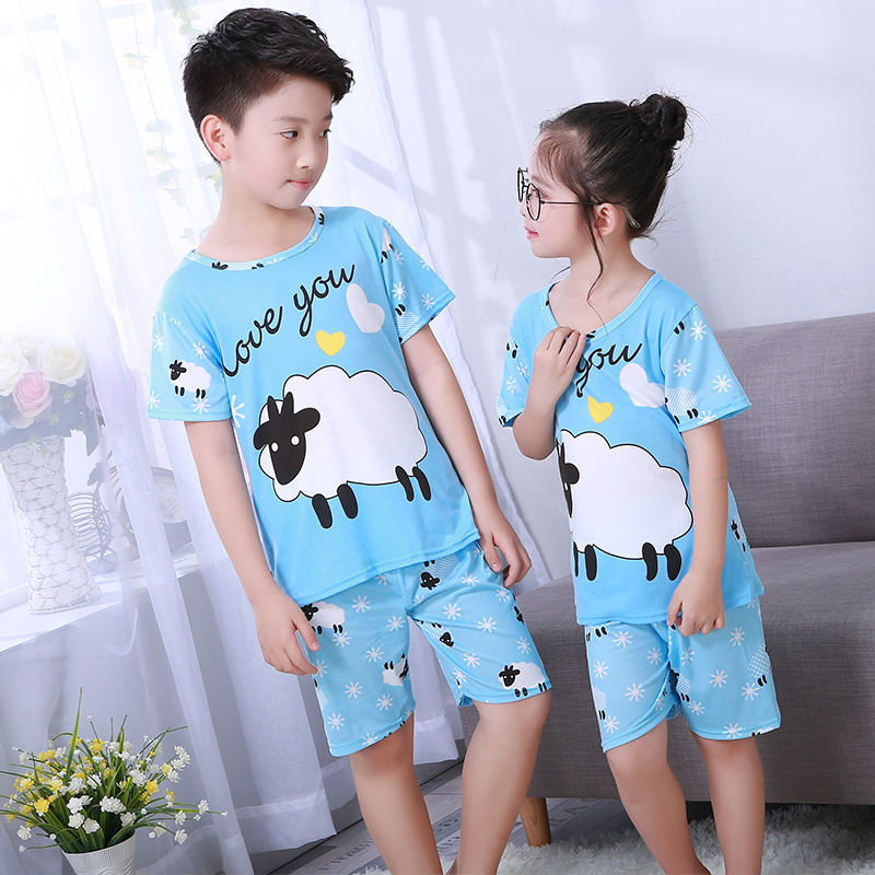 Summer Children Short   Pajamas     Sets   2019 Cute Home Sleepwear Girls Short Kids Pijamas Boy Short Top and Pant Print Kids   Pajamas