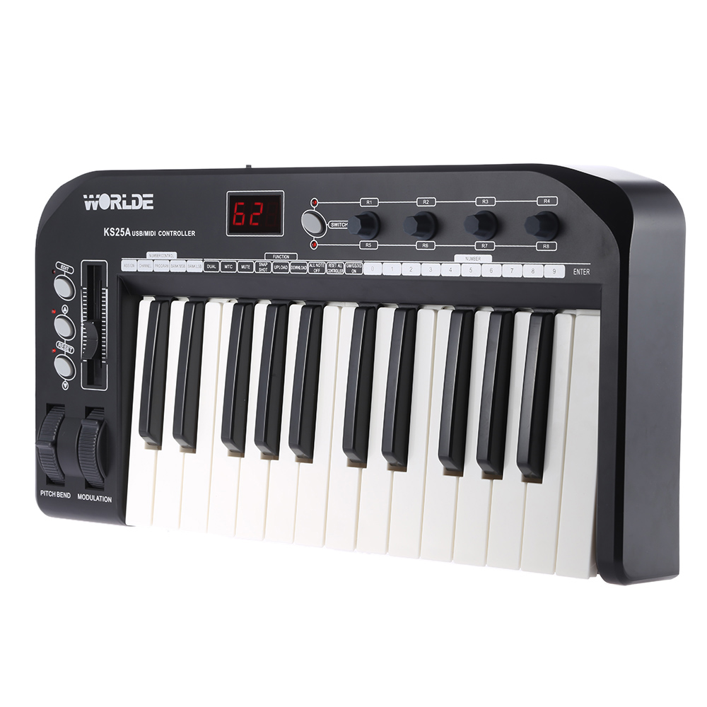 High Quality KS25A Portable 25 key USB MIDI Keyboard Controller with USB Cable