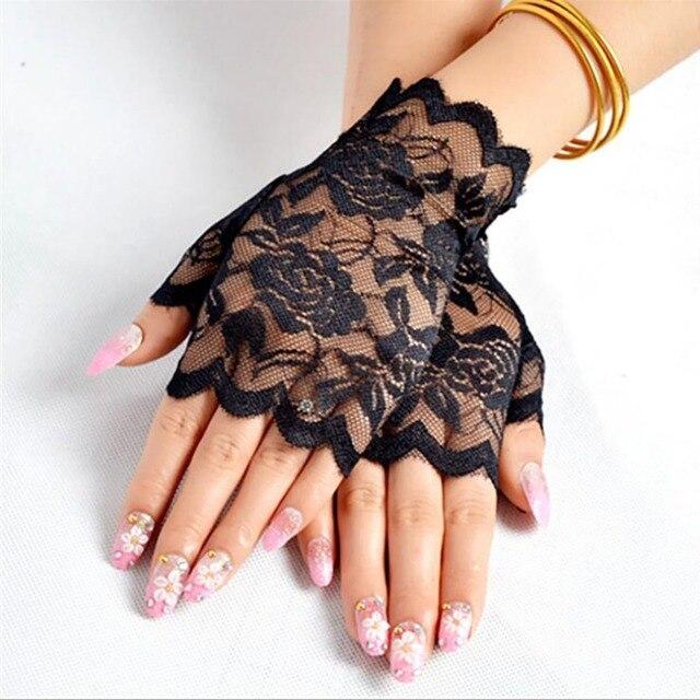 Best Sale Sailor Dance Long Fingerless Womens Sexy Lace Gloves Ladies Half Finger Fishnet Gloves Heated Mesh Mitten Handschoenen 2