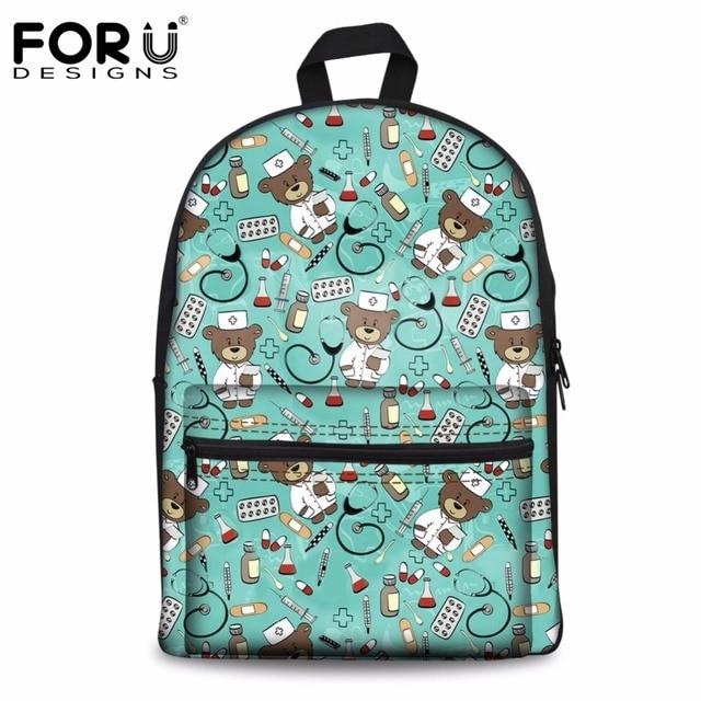 f9cafc6676b3 FORUDESIGNS Backpack Female Casual Canvas Women s Backpacks Cute Bear Nurse  Green Children s Backpack Large Laptop Kid Bag Bolsa