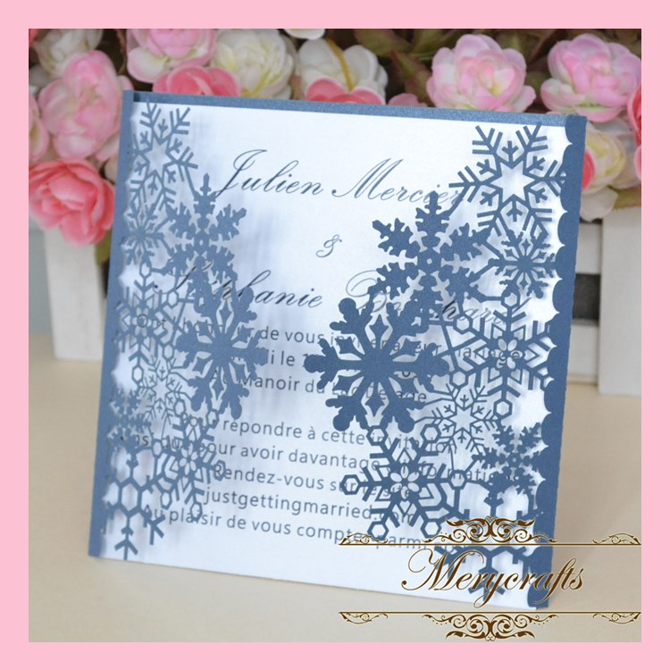 Dark Blue Wedding Invitations: Delicate Snowflake Dark Blue Paper Wedding Invitations