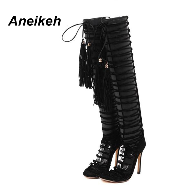 868bde03d75 Aneikeh Women Fetish Shoes Gladiator Sandals Over The Knee Thigh High  Bandage Fringe Sandal Heels Pumps Woman SIZE 35 40 Black-in Women s Sandals  from Shoes ...