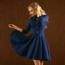 Sexy Ladies Three Quarter Sleeve Pleated Skater Party Button font b Evening b font font b
