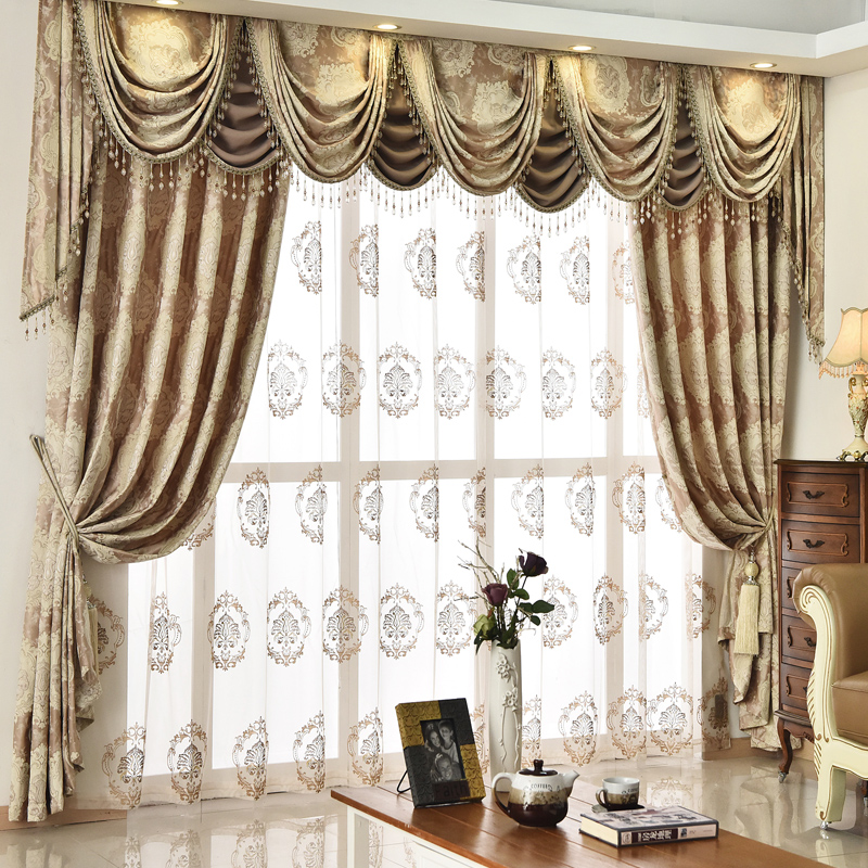European Golden Royal Luxury Curtains For Bedroom Window Valance Curtains  For Living Room Elegant Drapes Beads