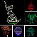 Christmas New Year Kid Gifts Cat Marvel Atmosphere 3D Lamp Child Kid Bedroom LED Touch Remote Control Illusion Night Light